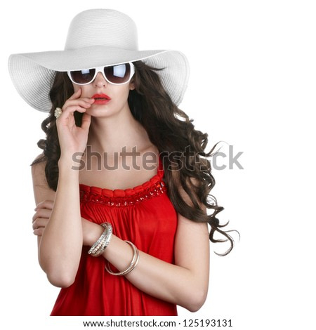 Beautiful woman in summer dress over white - stock photo