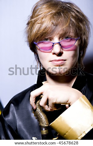 beautiful woman in sun glasses - stock photo