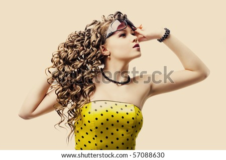 beautiful woman in sunglasses on white background - stock photo