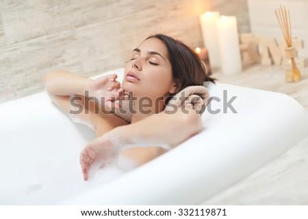 beautiful woman in the bathroom. Beautiful Woman Bathroom Stock Photo 332119871   Shutterstock