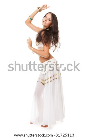 beautiful woman in the belly dance on white background - stock photo