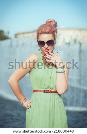 Beautiful woman in vintage clothing - stock photo