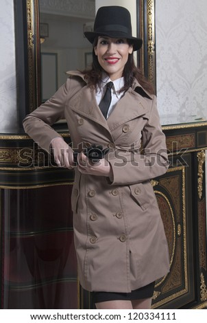 Beautiful woman in vintage military clothing, 1940s Style - stock photo