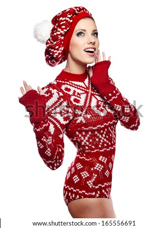 beautiful woman in warm clothing  - stock photo
