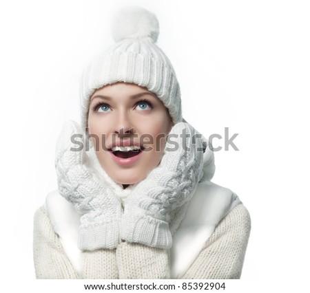 beautiful woman in warm clothing closeup portrait - stock photo