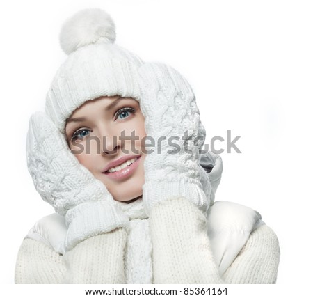 beautiful woman in warm clothing on white background - stock photo
