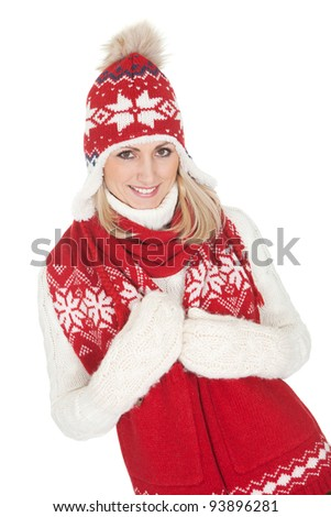 Beautiful woman in warm winter clothing. Isolated on white - stock photo