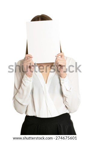 Beautiful woman in white blouse and black skirt holding banner - stock photo