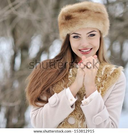 Beautiful woman in winter  - stock photo