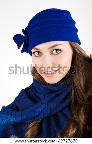 Beautiful woman in winter hat.