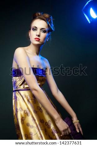 beautiful woman in yellow dress - stock photo