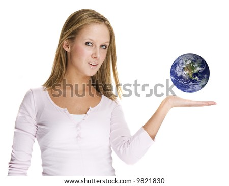 beautiful woman is holding the earth in her hands