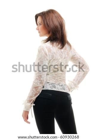 Beautiful woman isolated ower white - stock photo