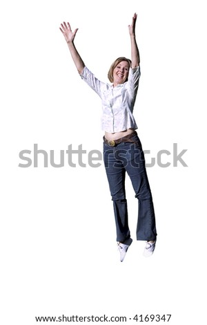 Beautiful woman jumping into the air
