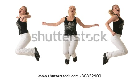 Beautiful woman jumping with joy isolated on white background
