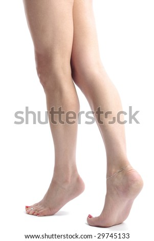 Beautiful woman legs and feet  isolated over white background