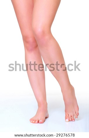 Beautiful woman legs isolated on a white background please see some