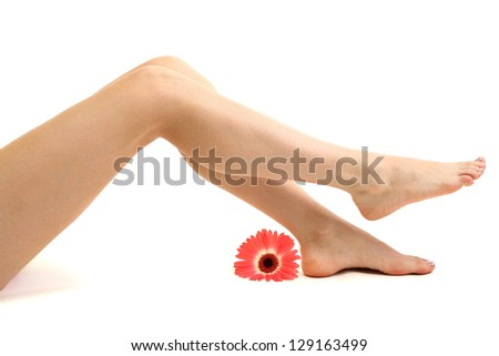 Beautiful woman legs, isolated on white - stock photo