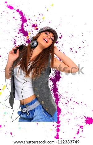 Beautiful woman listening to music over abstract background - stock photo