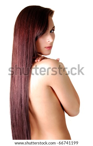 Beautiful woman long dark shiny hair isolated on white - stock photo