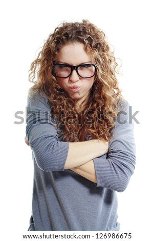 Beautiful woman looking angry and frustrated. Studio shot with white background - stock photo