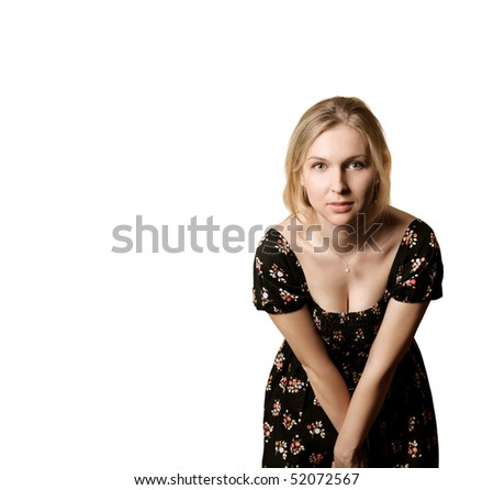 Beautiful woman looking at camera isolated on white - stock photo