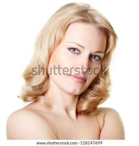 beautiful woman looking at camera, mid adult female face and shoulders closeup, isolated on white background - stock photo
