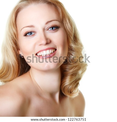 beautiful woman looking at camera, mid adult female face closeup, isolated on white background