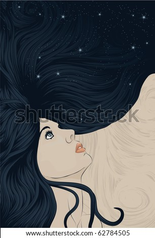 Beautiful woman looking up with hair flowing into space - stock photo