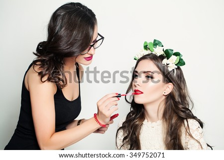 Beautiful Woman Make-up Artist. Stage Makeup