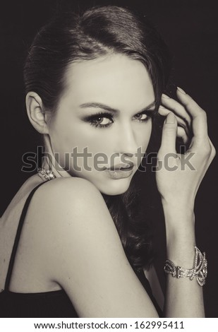Beautiful woman make-up in black and white - stock photo