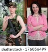 Beautiful woman military mom ready for her day - stock