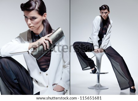beautiful woman model dressed elegant in a fashion pose - stock photo