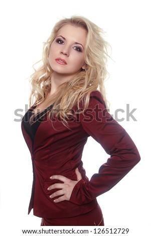 Beautiful woman model posing isolated on white background - stock photo