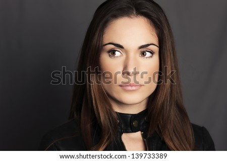 beautiful woman model with fresh daily makeup - stock photo