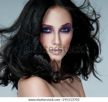 beautiful woman model with professional makeup - stock photo