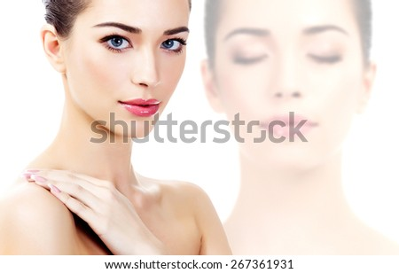 Beautiful woman on a white background, isolated, copyspace - stock photo