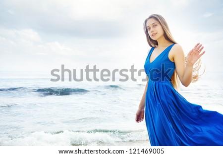 beautiful woman on beach bali - stock photo