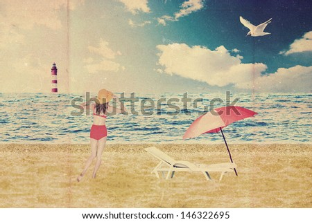 beautiful woman on beach near the sea, vintage - stock photo