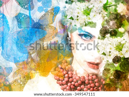 Beautiful woman on blooming flowers background