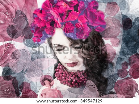 Beautiful woman on blooming flowers background - stock photo