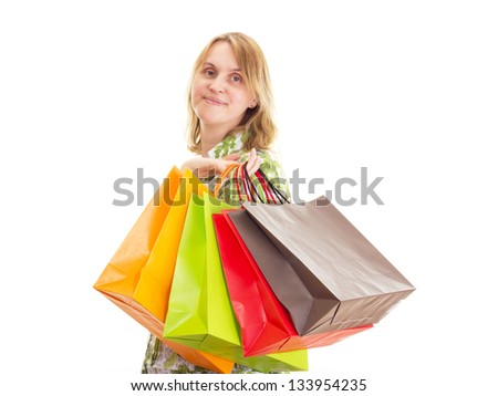 Beautiful woman on shopping tour - stock photo