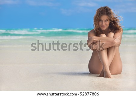 beautiful woman on Sunset Beach in Cuba. - stock photo