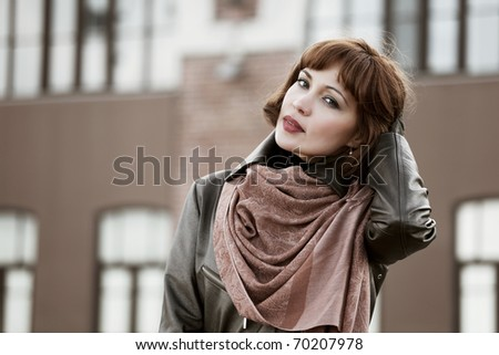 Beautiful woman on the city street