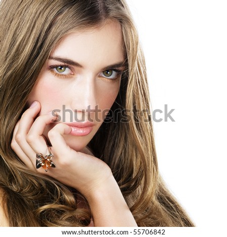 Beautiful woman on white - stock photo