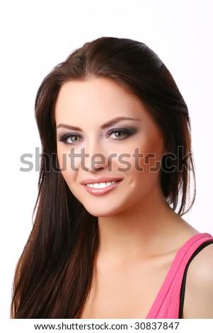 beautiful woman on white background - stock photo