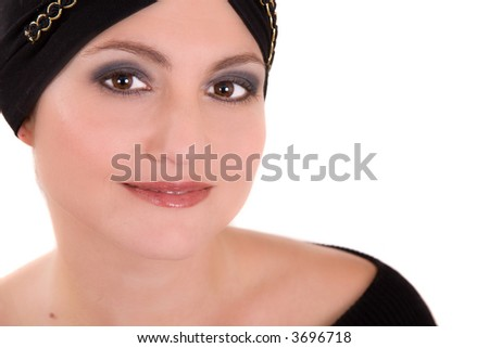 Beautiful woman on white background with headscarf - stock photo
