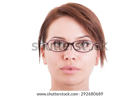 Beautiful woman or girl face wearing eyeglasses. Ophtalmology concept on white background with copy space