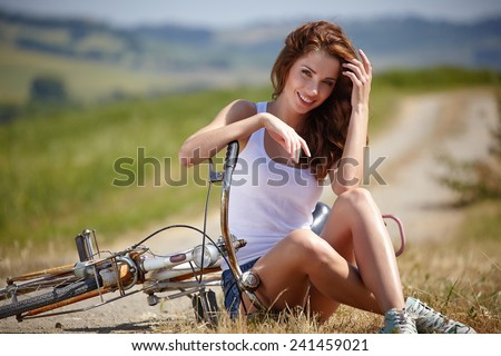 Beautiful woman outdoor - stock photo