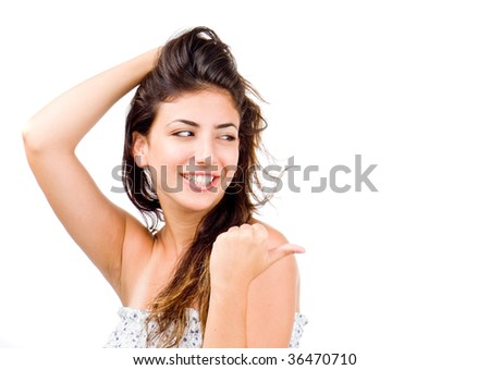Beautiful woman pointing. isolated on white background - stock photo